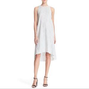 Theory Adlerdale Stripe Linen Hi-Low Dress